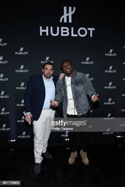 Seth Semilof and Andre Berto attend the Hublot Private Dinner with Edgar Ramirez at Waldorf Astoria Beverly Hills on March 13 2018 in Beverly Hills...