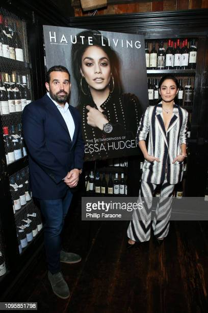 Seth Semilof and Vanessa Hudgens attend the Haute Living and Jaquet Droz Honoring of Vanessa Hudgens at AOC on January 17 2019 in Los Angeles...
