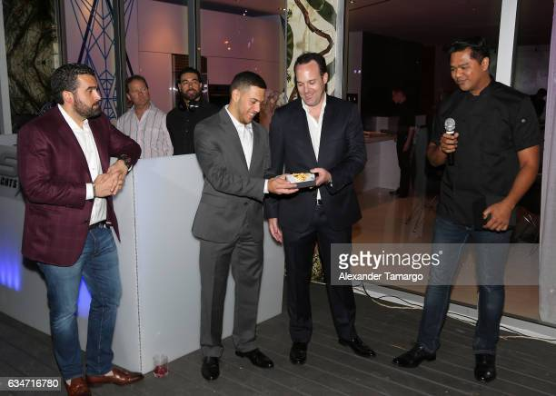 Seth Semilof Mauricio Velez Nikolai Sass and Chef Bjorn De la Cruz are seen at the SV Yachts ALPHA debut at The Deck at Island Gardens on February 10...