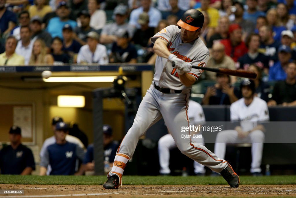 Seth Smith #12 of the Baltimore Orioles hits a double in the seventh inning against the Milwaukee Brewers at Miller Park on July 5, 2017 in Milwaukee, Wisconsin.