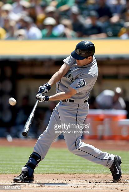 Seth Smith of the Seattle Mariners bats against the Oakland Athletics in the top of the firs inning at Oco Coliseum on April 12 2015 in Oakland...