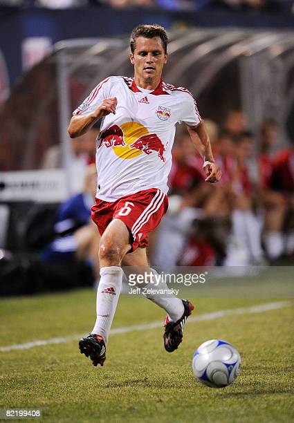 Seth Stammler of the New York Red Bulls plays the ball against the FC Barcelona at Giants Stadium in the Meadowlands on August 6 2008 in East...