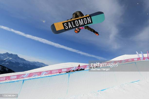 Seth Strobel of Canada competes in his qualification run in Men's Snowboard Halfpipe during day 13 of the Lausanne 2020 Winter Youth Olympics at...