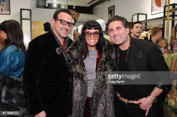 Seth Weisser Norma Kamali and Gerard Maione attend Vintage For The Future A Norma Kamali Retrospective by What Goes Around Comes Around on February...