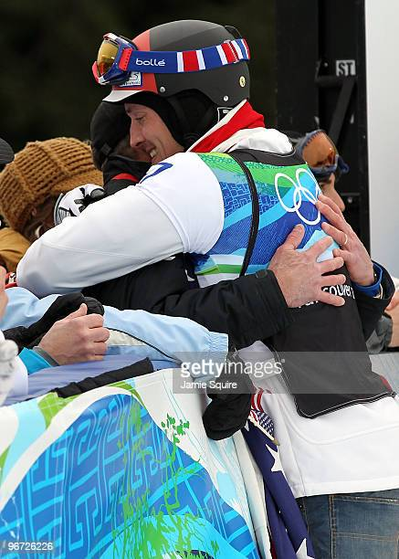 Seth Wescott of the United States celebrates after he won the gold medal in the men's SBX big final on day 4 of the Vancouver 2010 Winter Olympics at...
