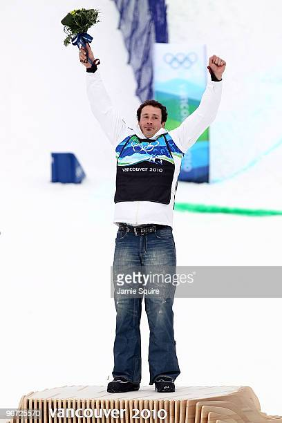 Seth Wescott of the United States celebrates as he wins the gold medal in the men's SBX big final on day 4 of the Vancouver 2010 Winter Olympics at...