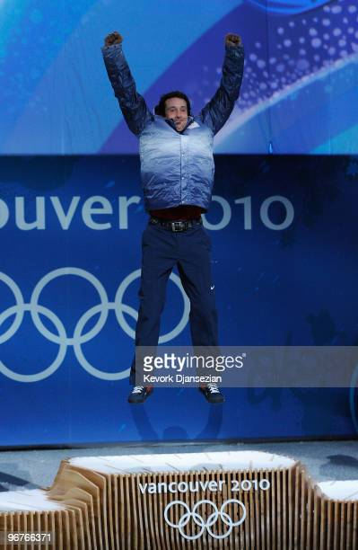 Seth Wescott of the United States celebrates winning the gold medal during the medal ceremony the Men's Snowboard Cross on day 5 of the Vancouver...