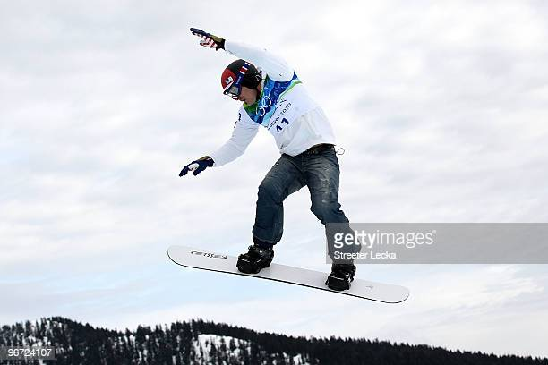 Seth Wescott of the United States competes during the Men's SBX qualification on day 4 of the Vancouver 2010 Winter Olympics at Cypress Snowboard &...