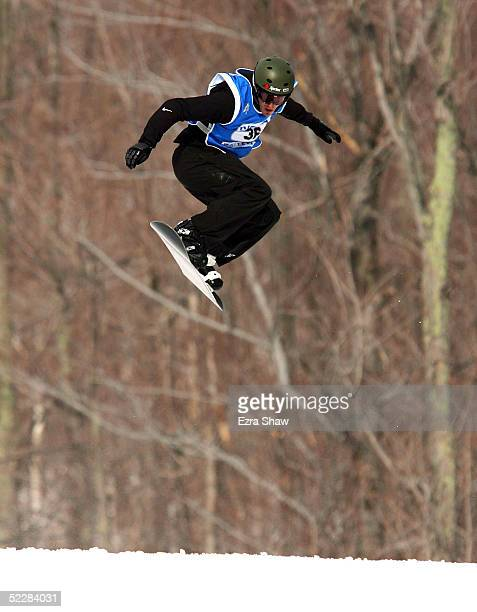 Seth Wescott of the USA competes during the qualifications for the Men's Snowboard Cross in the Nokia Snowboard FIS World Cup on March 6, 2005 at...