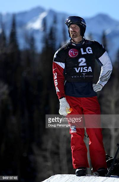 Seth Wescott of the USA prepares for competition in the FIS Snowboardcross World Cup on December 19, 2009 in Telluride, Colorado. Wescott went on to...