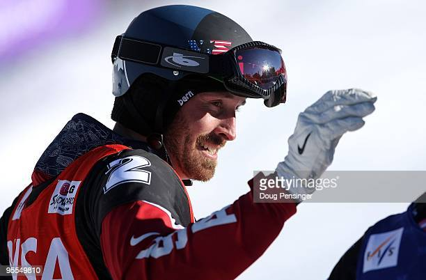 Seth Wescott of the USA reacts after finishing sixth in the Snowboardcross World Cup on December 19, 2009 in Telluride, Colorado.