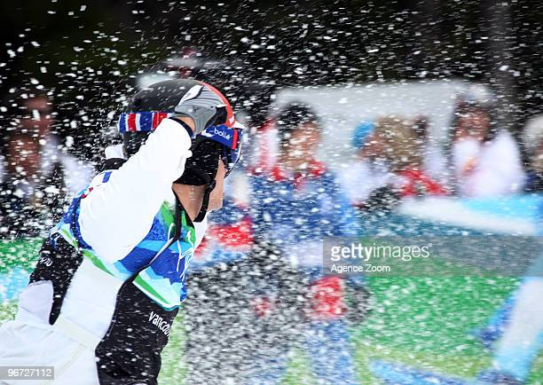 Seth Wescott of the USA takes 1st place during the Men's Snowboard Cross on Day 4 of the 2010 Vancouver Winter Olympic Games on February 15, 2010 in...