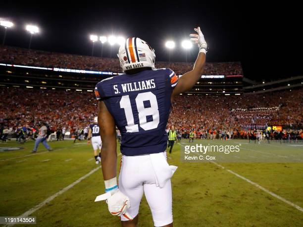 Seth Williams of the Auburn Tigers reacts after their 4845 win over the Alabama Crimson Tide at Jordan Hare Stadium on November 30 2019 in Auburn...