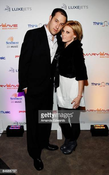 SethFaber and Lucy Walsh attend the Primary Wave Music Publishing preGrammy party at SLS Hotel on February 7 2009 in Los Angeles California