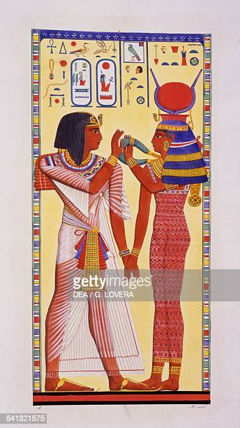 Seti I and the goddess Hathor relief from the Tomb of Seti I in Biban elMuluk Plate LVIII from Monuments of Egypt and Nubia Historical monuments...