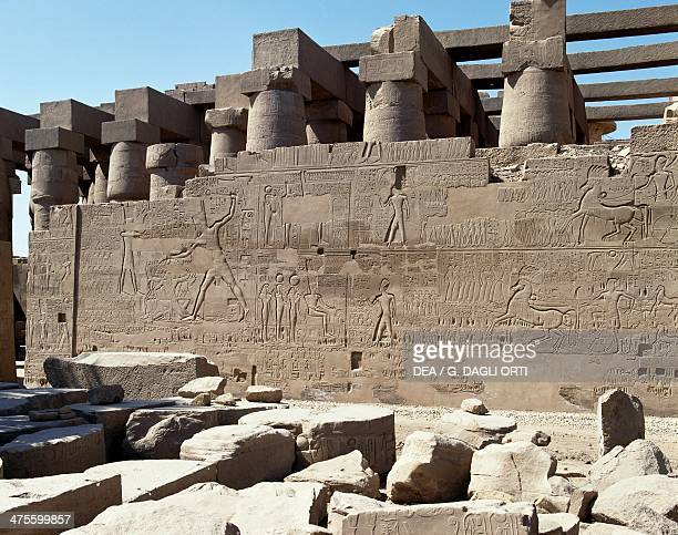 Seti I's campaigns in Syria and Palestine relief from the Hypostyle Hall of the Temple of Amun Karnak Luxor Thebes Egypt Egyptian civilisation New...