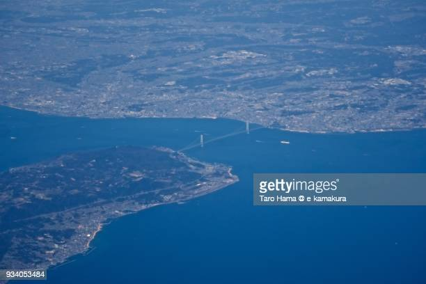 Seto Inland Sea, Akashi Strait and Awaji Island in Hyogo prefecture in Japan daytime aerial view from airplane