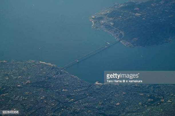 Seto Inland Sea and Akashi Strait Bridge in Hyogo prefecture in Japan daytime aerial view from airplane