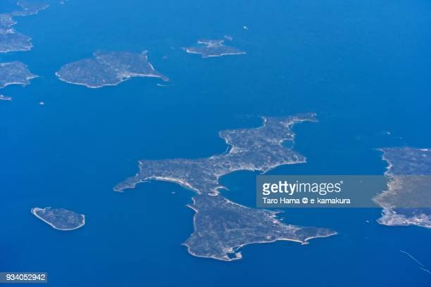 Seto Inland Sea and Gogo island in Matsuyama city in Ehime prefecture in Japan daytime aerial view from airplane