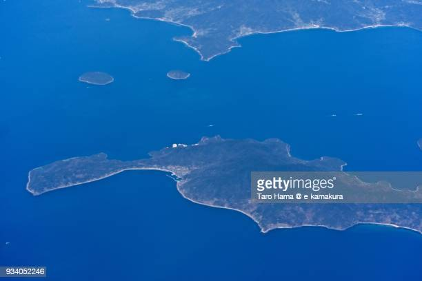 Seto Inland Sea and Heigun island in Yanai city in Yamaguchi prefecture in Japan daytime aerial view from airplane