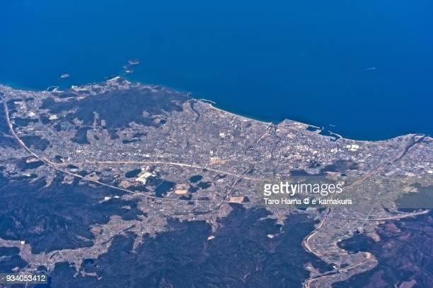 Seto Inland Sea and Higashikagawa city in Kagawa prefecture in Japan daytime aerial view from airplane