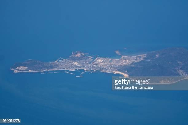Seto Inland Sea and Himeshima Island in Himeshima village in Oita prefecture in Japan daytime aerial view from airplane