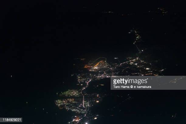 seto inland sea and iwakuni city in yamaguchi prefecture of japan aerial view from airplane - 山口県 ストックフォトと画像