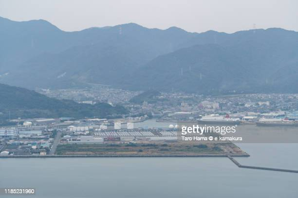 seto inland sea and kitakyushu city in fukuoka prefecture of japan aerial view from airplane - 山口県 ストックフォトと画像