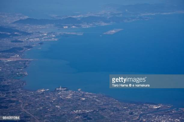Seto Inland Sea and Nakatsu and Buzen cities in Oita prefecture in Japan daytime aerial view from airplane