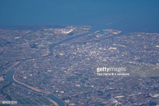Seto Inland Sea and Nakatsu city in Oita prefecture in Japan daytime aerial view from airplane