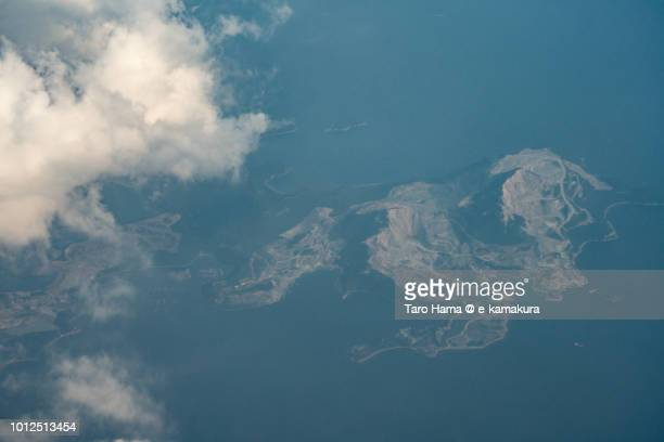 Seto Inland Sea and Nishi Island in Himeji city in Hyogo prefecture in Japan sunset time aerial view from airplane