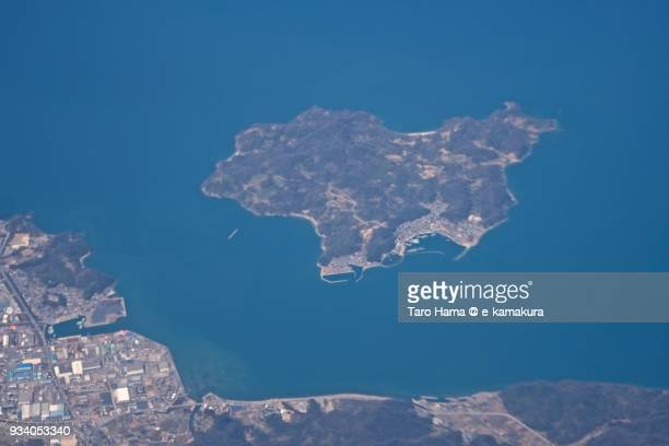 Seto Inland Sea and Oshima island in Niihama city in Ehime prefecture in Japan daytime aerial view from airplane
