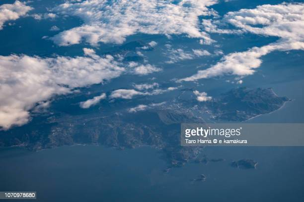 Seto Inland Sea and Shodo Island in Japan sunset time aerial view from airplane