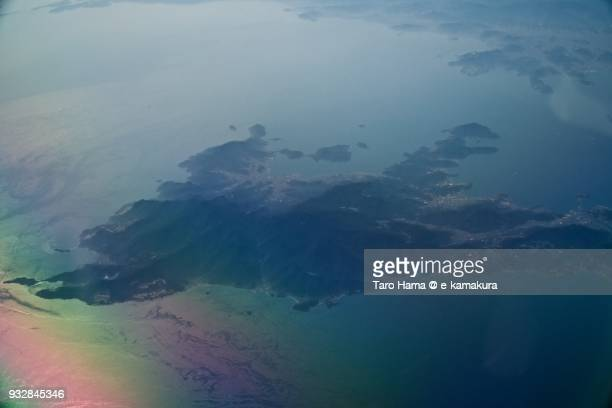 Seto Inland Sea and Shodoshima Island in Kagawa prefecture in Japan daytime aerial view from airplane