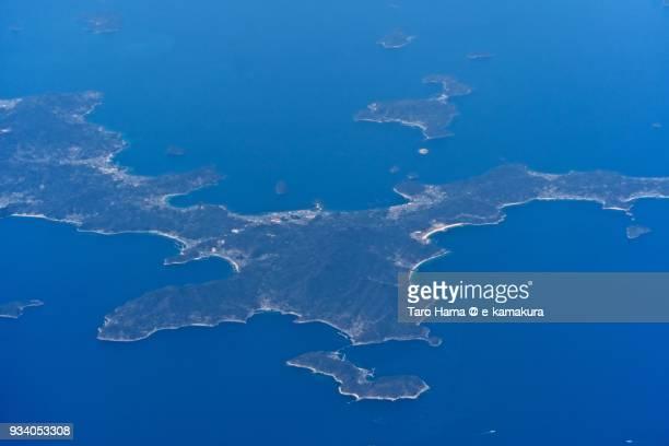 Seto Inland Sea and Suooshima (Yashiro-jima) island in Suo-Oshima town in Yamaguchi prefecture in Japan daytime aerial view from airplane