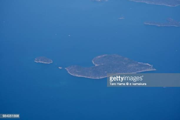 Seto Inland Sea daytime and Iwai and Koiwai islands in Kaminoseki town in Yamaguchi prefecture in Japan aerial view from airplane