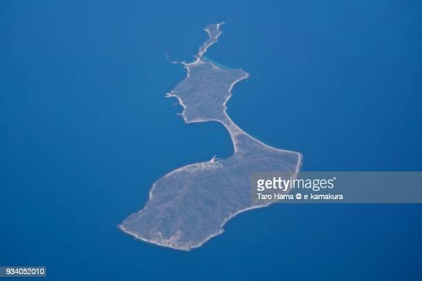 Seto Inland Sea daytime and Yashima island in Kaminoseki town in Yamaguchi prefecture in Japan aerial view from airplane