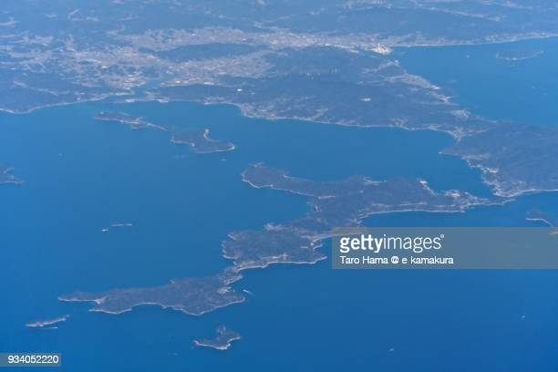 Seto Inland Sea daytime, Hirao town and Nagashima island in Kaminoseki town in Yamaguchi prefecture in Japan aerial view from airplane