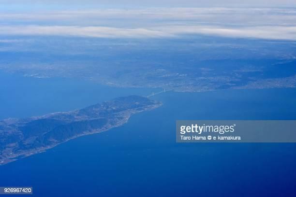 seto inland sea, osaka bay and awaji island hyogo prefecture in japan daytime aerial view from airplane - 太平洋 ストックフォトと画像