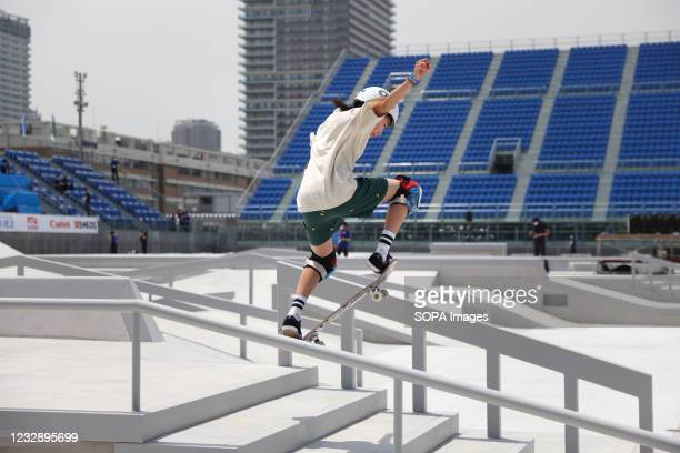 Seto Kitano performs her routine during the READY STEADY TOKYO Skateboarding Test Event at Ariake Urban Sports Park in course of the preparations for...