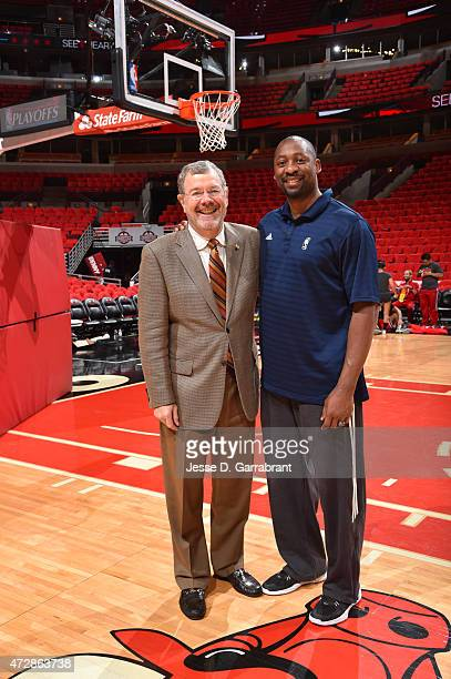 Seton Hall alumni P J Carlesimo and Adrian Griffin pose for a picture prior to the Chicago Bulls against the Cleveland Cavaliers at the United Center...