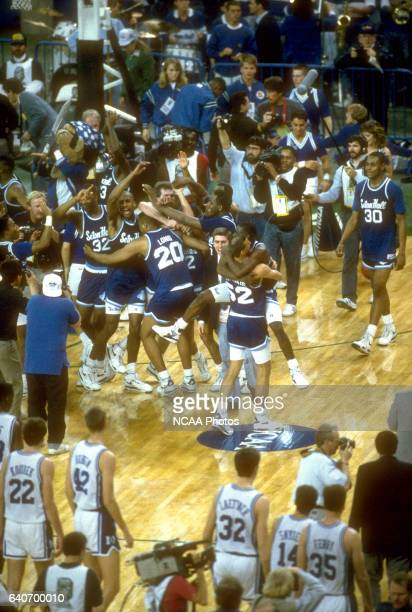 Seton Hall celebrates their victor over Duke during the NCAA Photos via Getty Images Men's National Basketball Final Four semifinal game held at the...