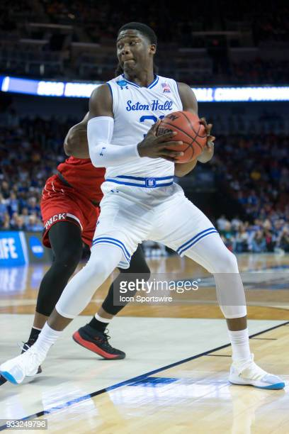 Seton Hall Pirates center Angel Delgado along the baseline during the NCAA Tournament first round game against the North Carolina State Wolfpack on...
