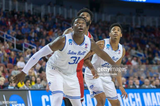 Seton Hall Pirates center Angel Delgado during the NCAA Tournament first round game against the North Carolina State Wolfpack on March 15 2018 at...