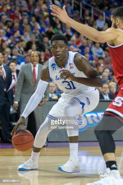Seton Hall Pirates center Angel Delgado looks along the baseline during the NCAA Tournament first round game against the North Carolina State...