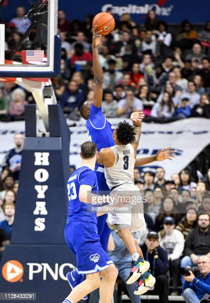 Seton Hall Pirates center Romaro Gill blocks a first half shot by Georgetown Hoyas guard James Akinjo on March 2 at the Capital One Arena in...