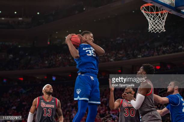 Seton Hall Pirates center Romaro Gill during the college basketball game between the Seton Hall Pirates and the St John's Red Storm on February 2019...