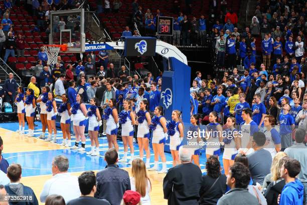 Seton Hall Pirates Cheerleaders stand during the National Anthem prior to the College Basketball game between the Seton Hall Pirates and the Monmouth...