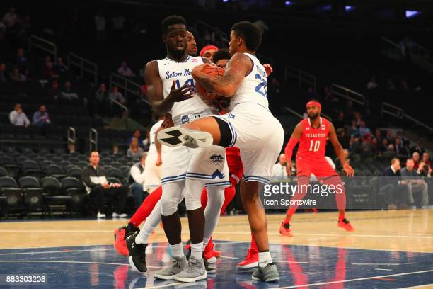 Seton Hall Pirates forward Ismael Sanogo and Seton Hall Pirates forward Desi Rodriguez rebound during the first half of the Under Armour Reunion...