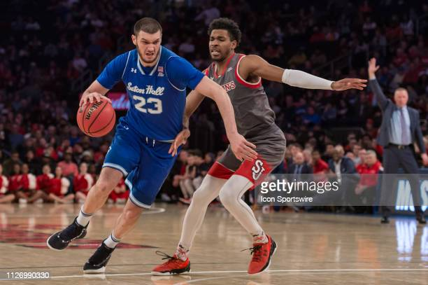 Seton Hall Pirates forward Sandro Mamukelashvili drives to the basket during the second half of the college basketball game between the Seton Hall...
